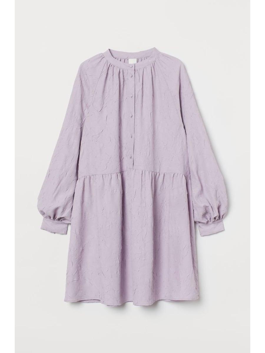 Balloon sleeve lavendar purple dress