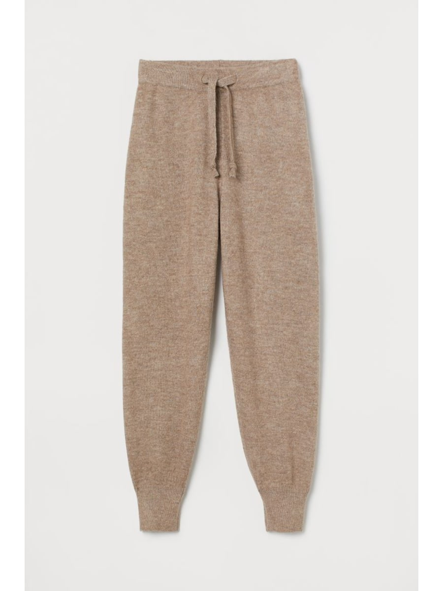 Beige wool blend lounge pants