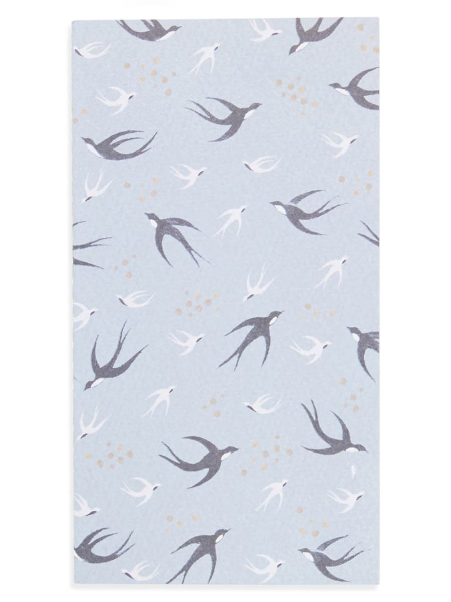 Light blue journal with birds on cover