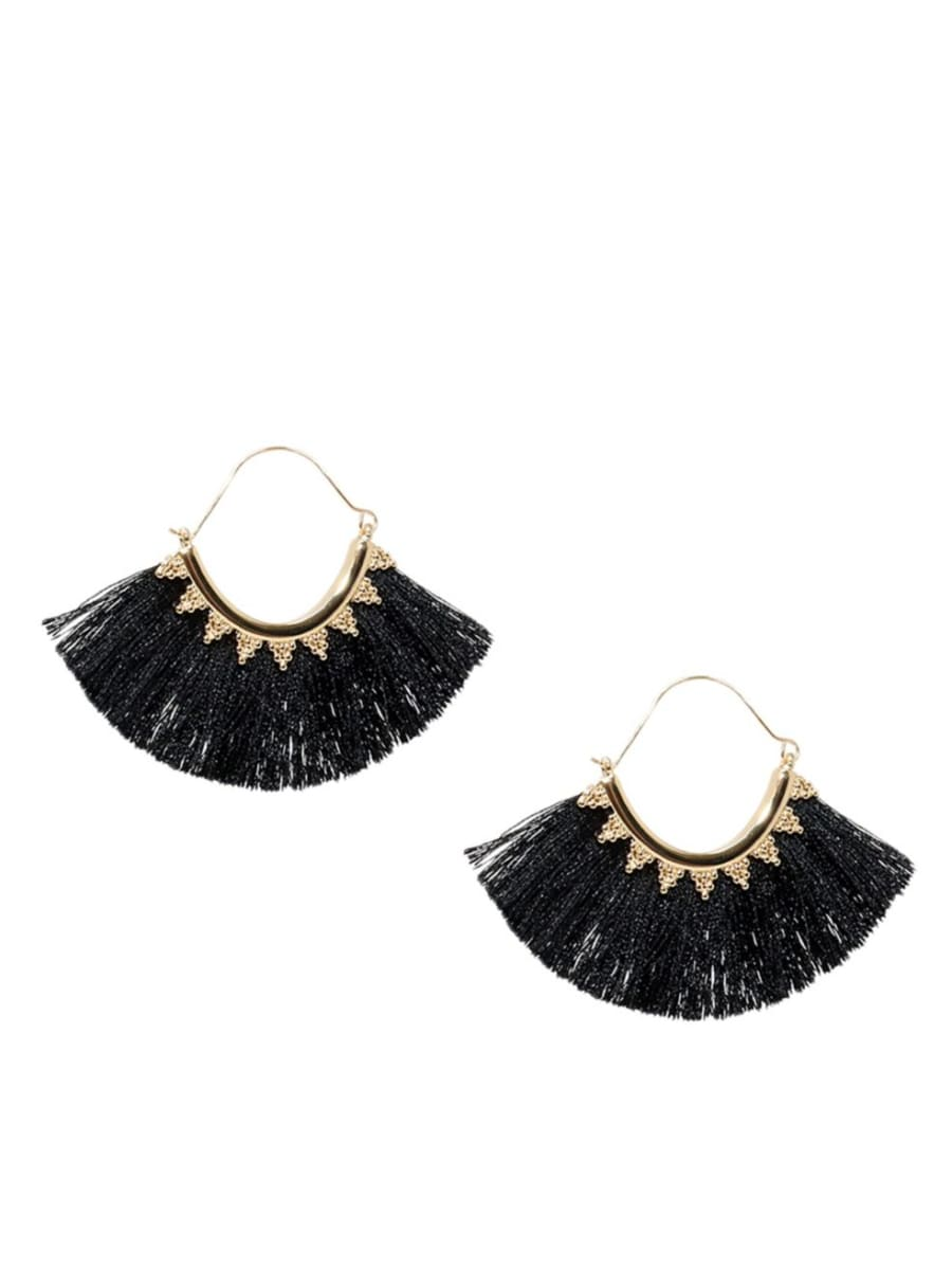 Black tassel hoop earrings