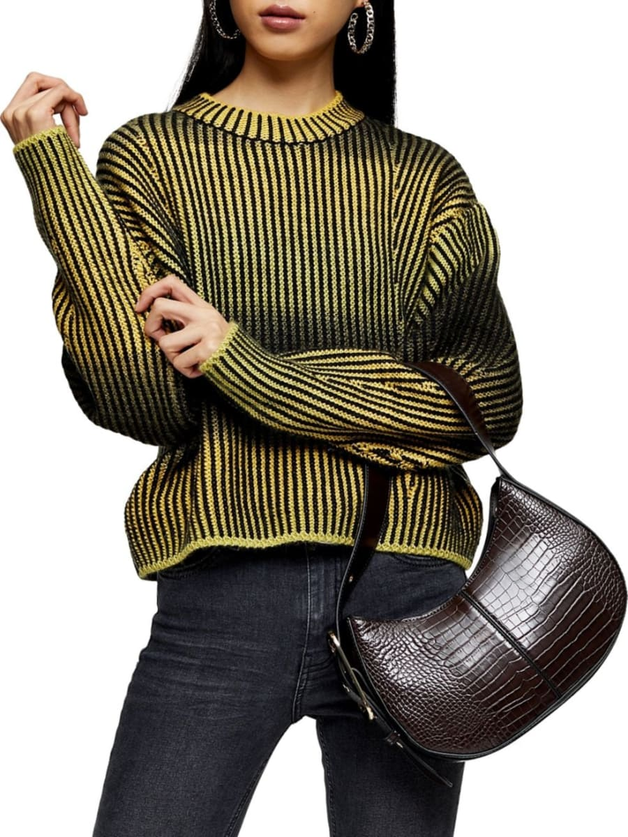Yellow and black knit sweater