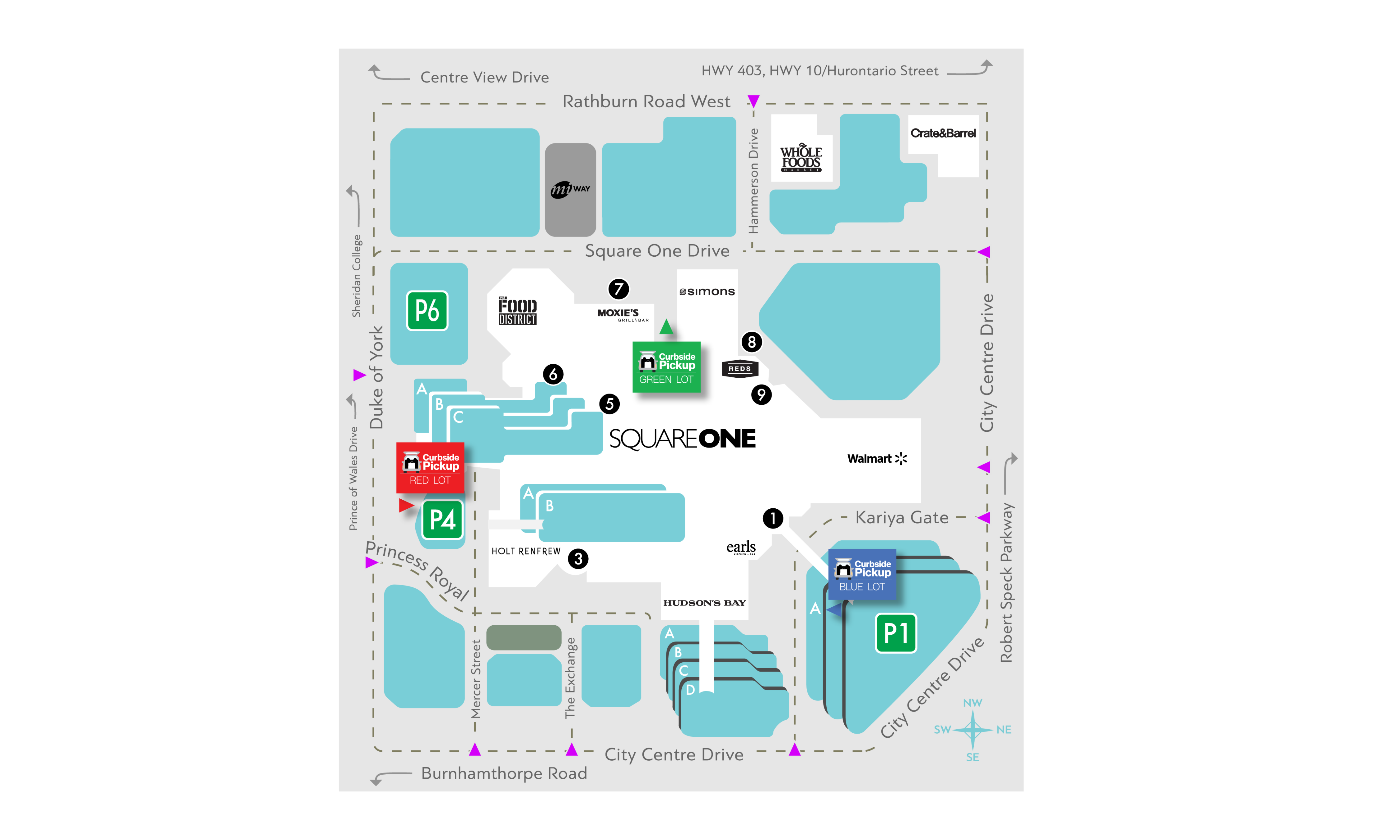 Map of curbside at Square One