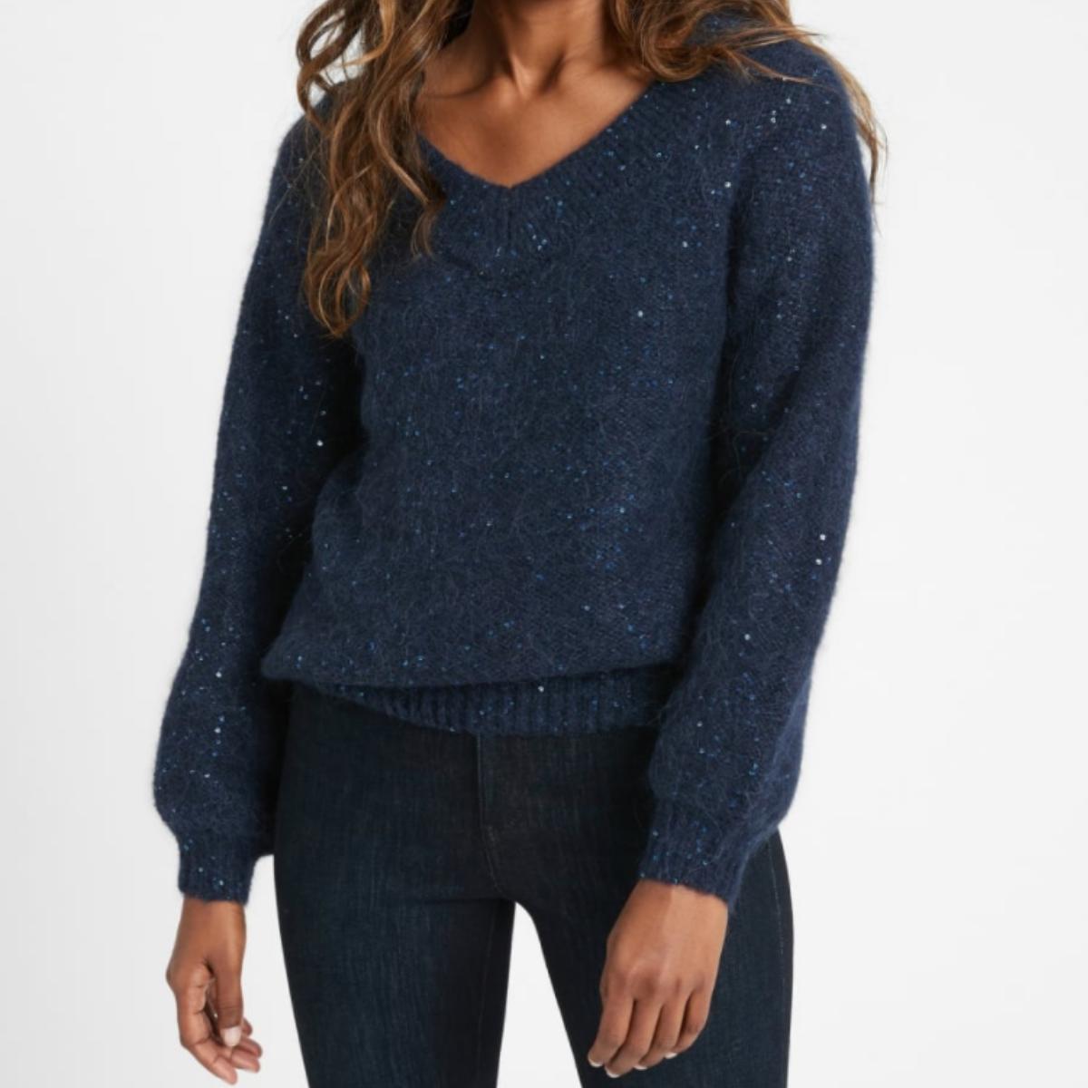 Banana Republic Sequin V-Neck Sweater