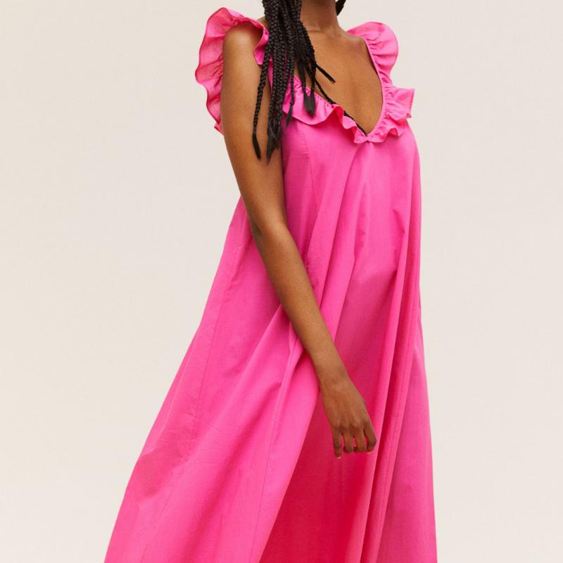 H&M pink ruffle dress