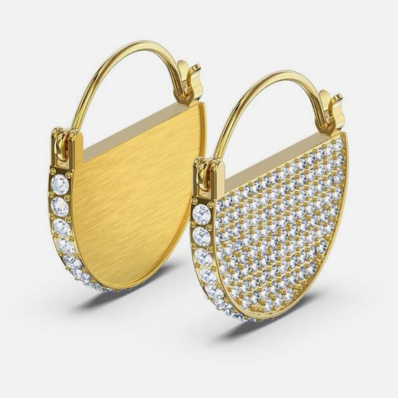 Swarovski gold hoop earrings with crystal pavé