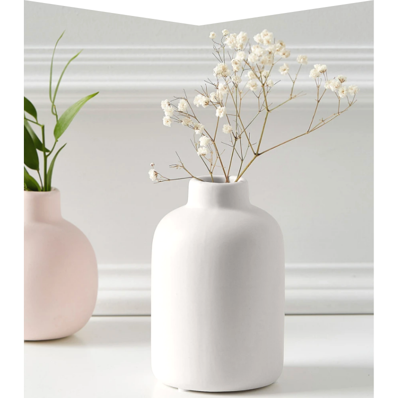 Pink and white vase.