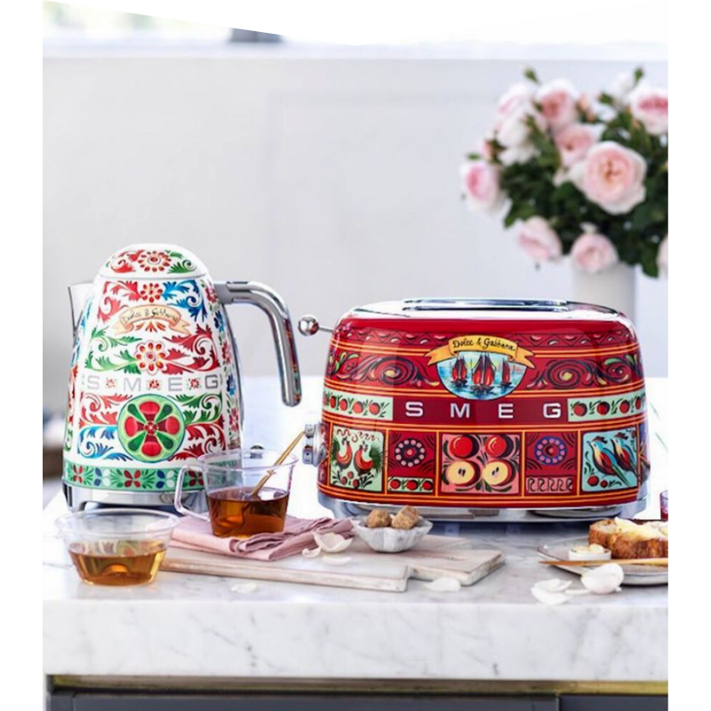 Colourful patterned kettle and toaster.