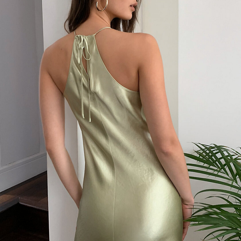 green slip dress from Aritzia