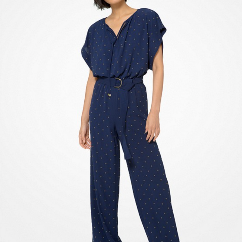 Navy jumpsuit with metallic grommets from Michael Kors
