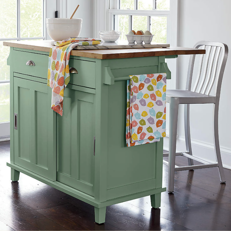 Green kitchen island from Crate & Barrel
