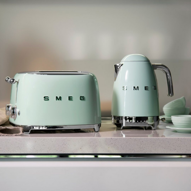 Green Smeg toaster and kettle