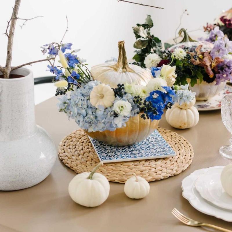Blue pumpkin & floral centrepiece arrangement from Blossom Moments
