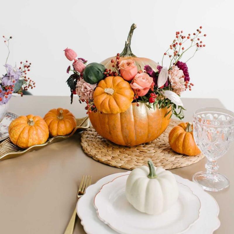 Pink pumpkin & floral centrepiece arrangement from Blossom Moments
