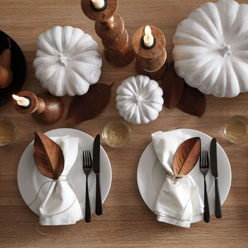 White pumpkin & wooden candleholders from Crate & Barrel